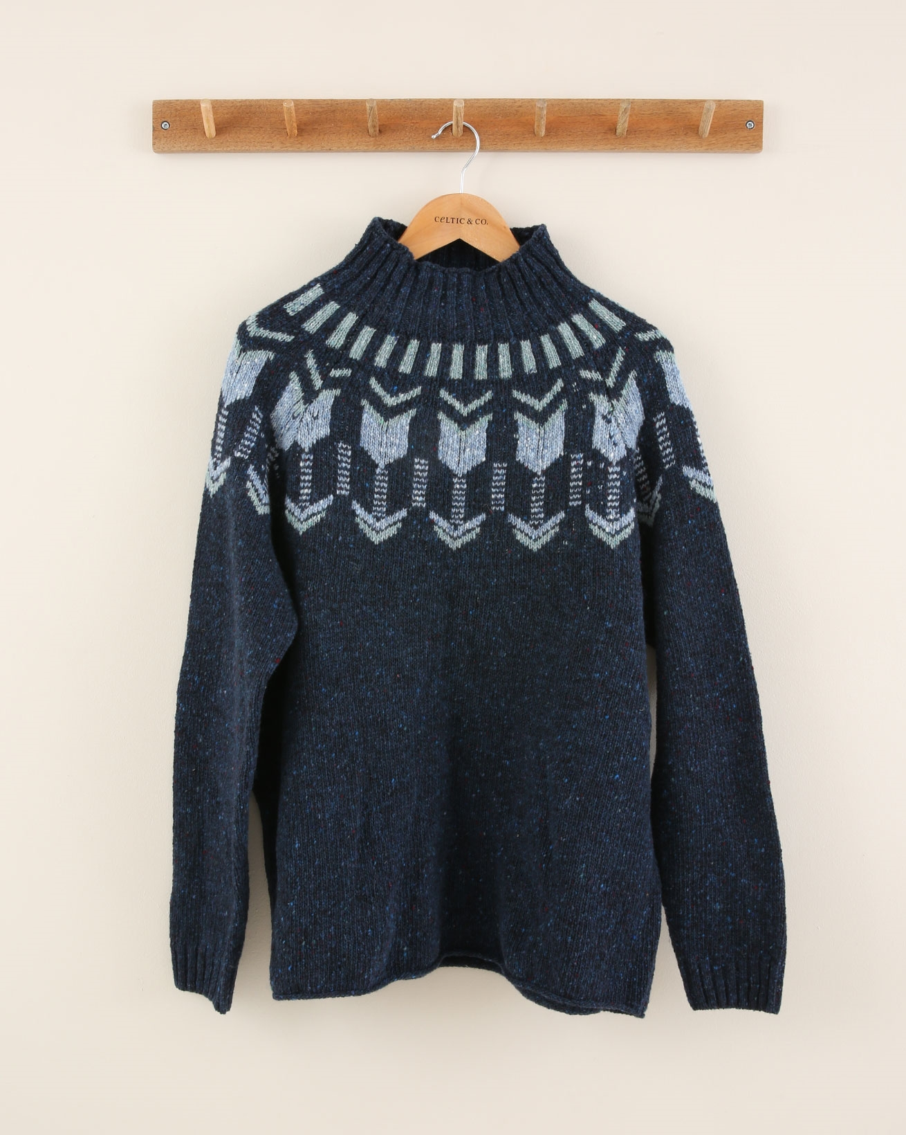 Fair Isle Funnel Neck - Size Large - Navy Mineral - 1897