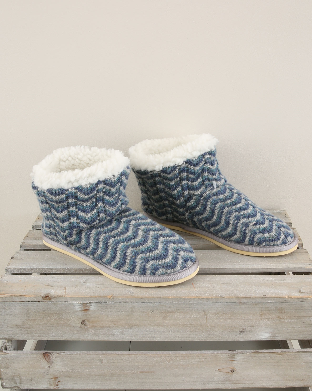 Knitted Shortie Slipper - Size 6 - Blue Wave - 1901