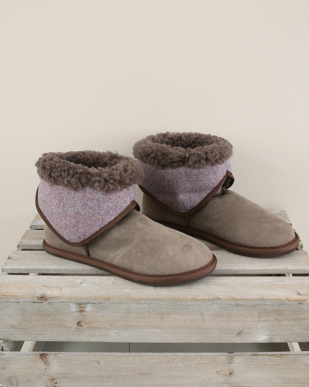 Tweed Fold Down Bootee Slipper - Size 6 - Vole Mix - 1903