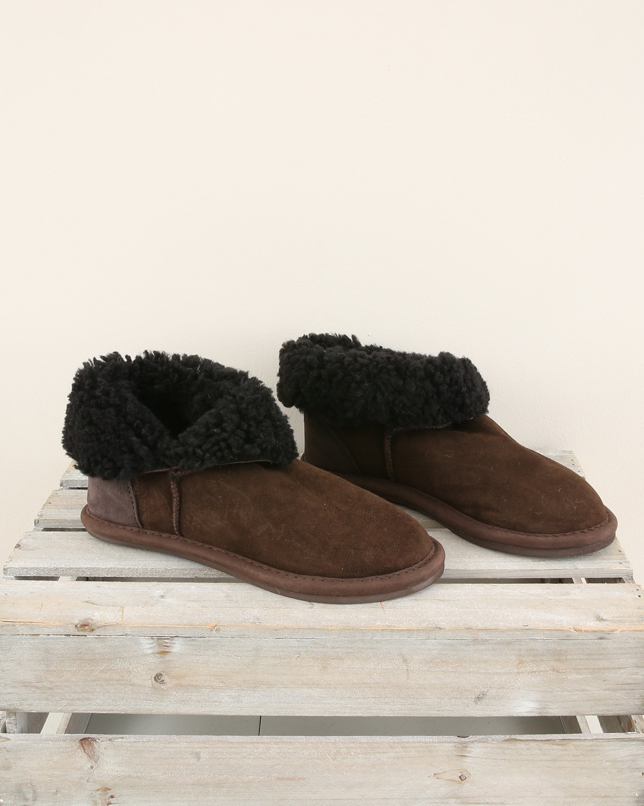 Fold down shortie boot slipper - Size 6 - Mocca - 1904