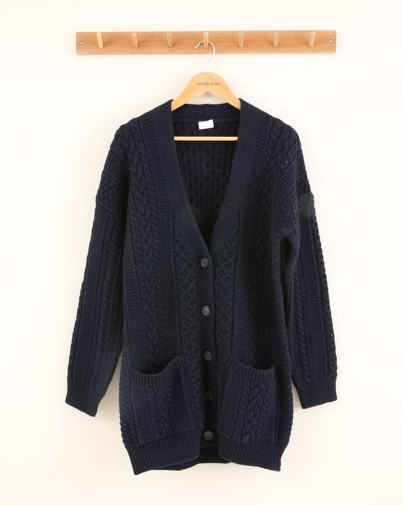 Cable Boyfriend Cardigan - Size Small - Navy - 1911