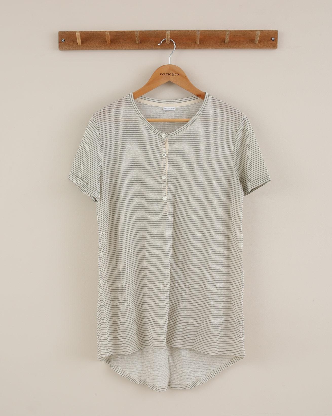 Linen Button Top - Size 14 - Sage Ecru - 1914
