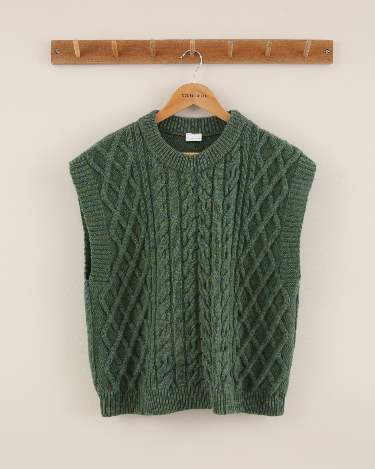 Sleeveless Cable Knit Vest - Size Medium - Green Mix - 1916