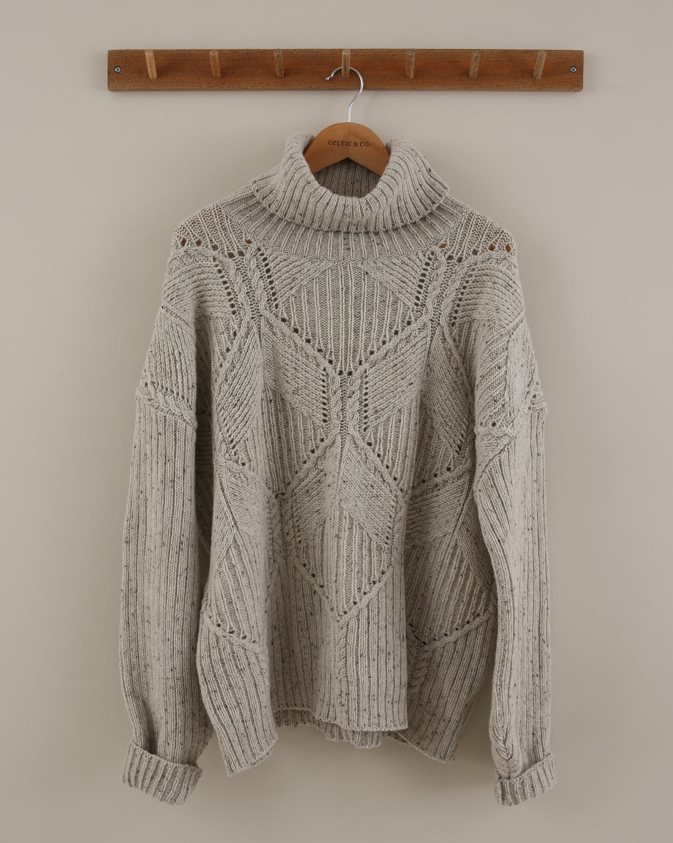 Cable Roll Neck Jumper - Size Medium - Pearl Grey - 1922