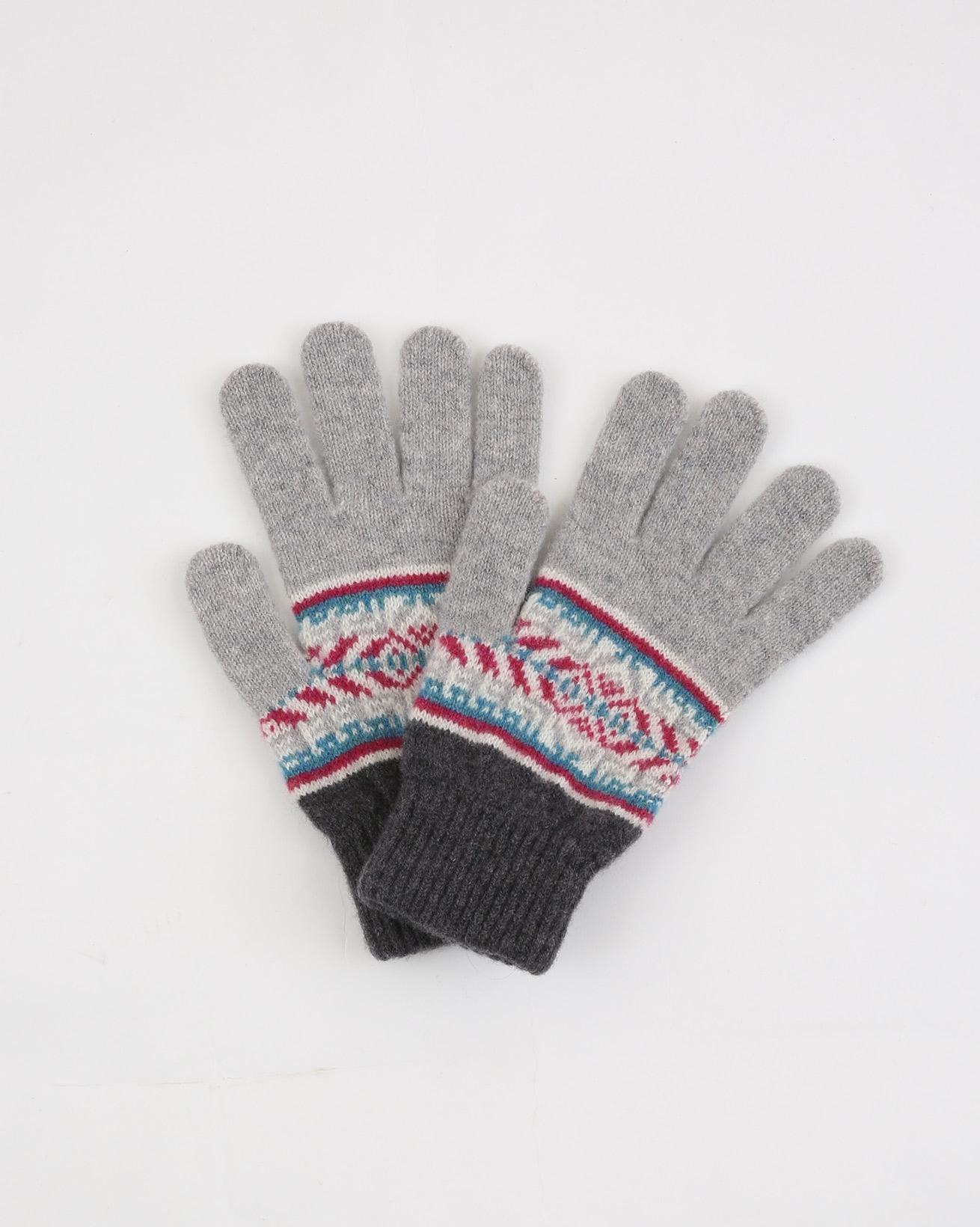 Ladies Fairisle Gloves - One Size - Grey Mix Fairisle - 1924