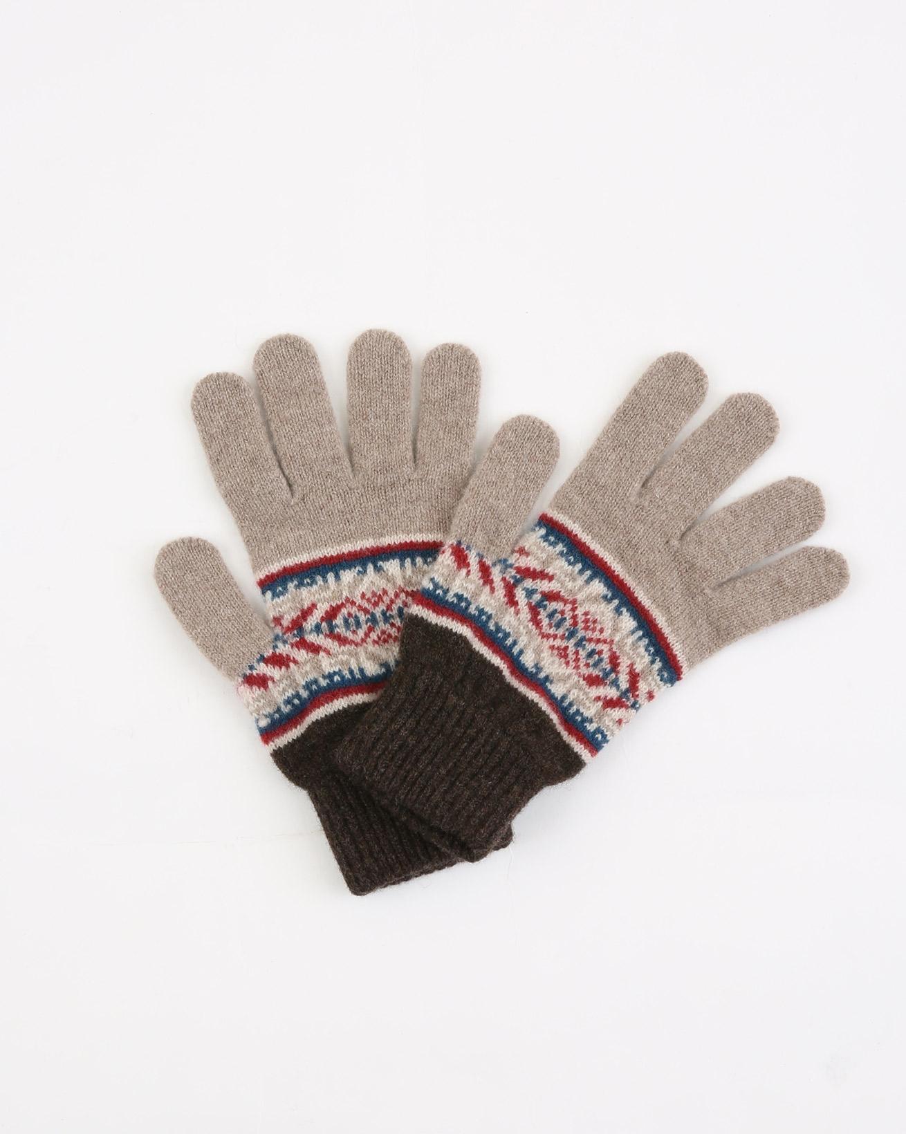 Ladies Fairisle Gloves - One Size - Brown Mix Fairisle - 1928