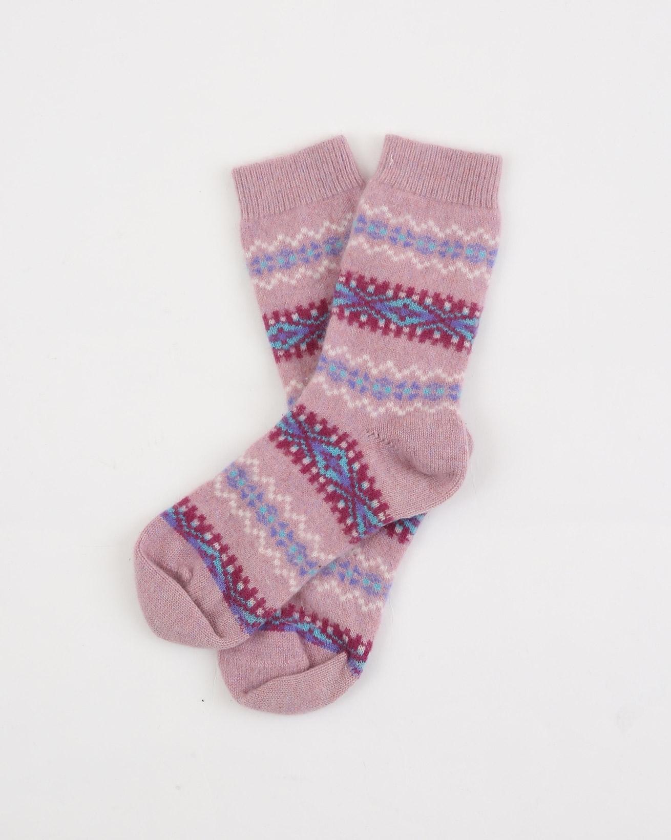 Ladies Fairisle Socks - One Size - Pink Mix - 1937