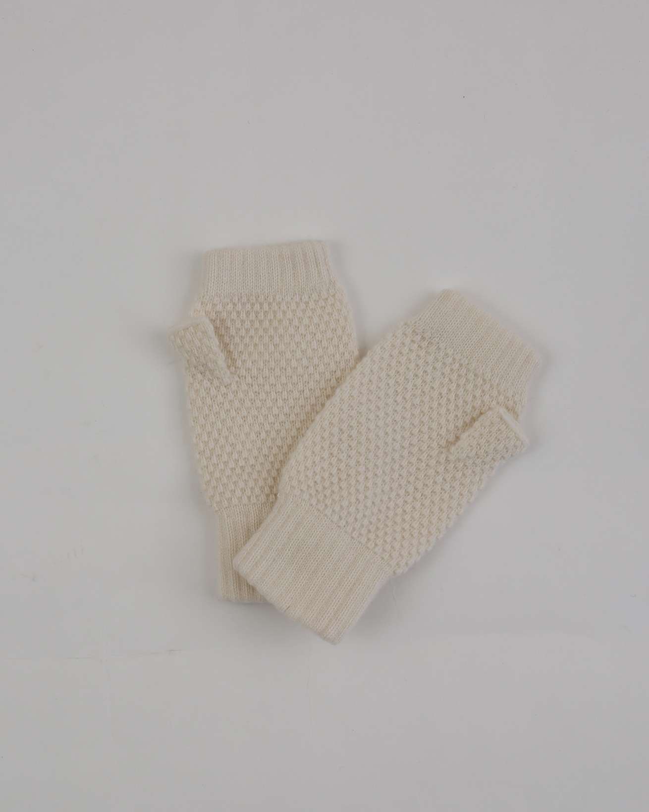 Ladies Cashmere Moss Stitch Wristwarmers - One Size - Ivory - 1941