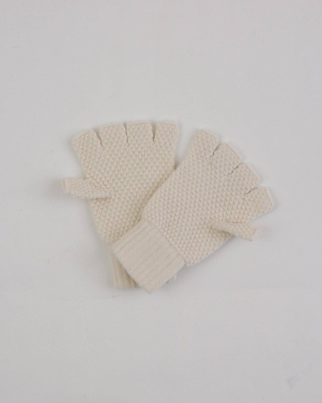 Ladies Cashmere Moss Stitch Fingerless gloves - One Size - Ivory - 1942