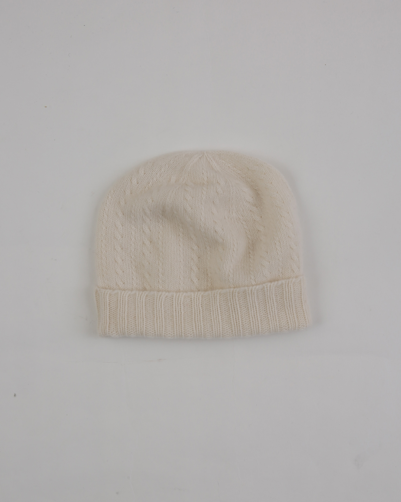 Ladies Cashmere Fine Cable Beanie - One Size - Ivory - 1945
