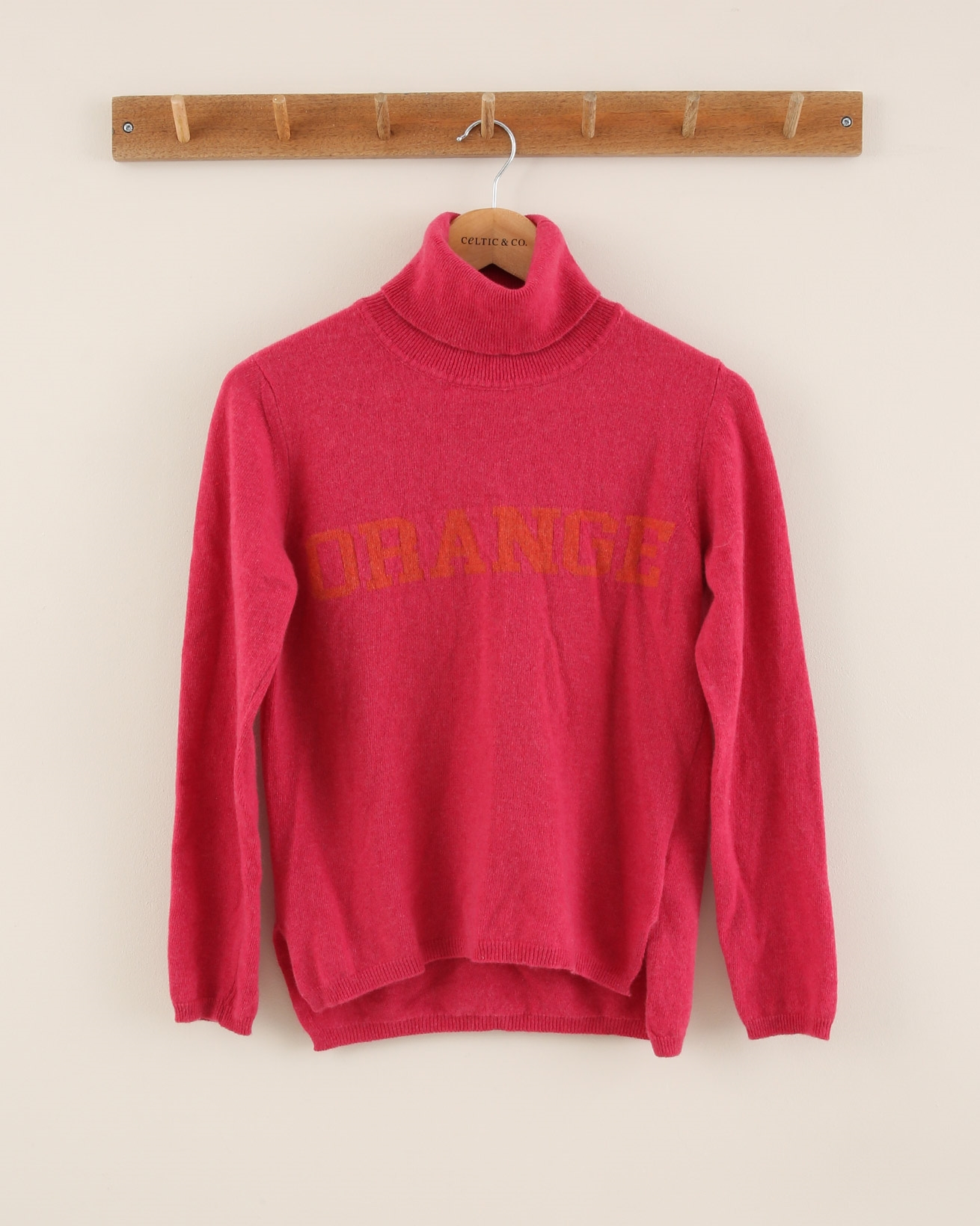 Cashmere Roll Neck Jumper - Size Extra Small - Pink & orange - 1946