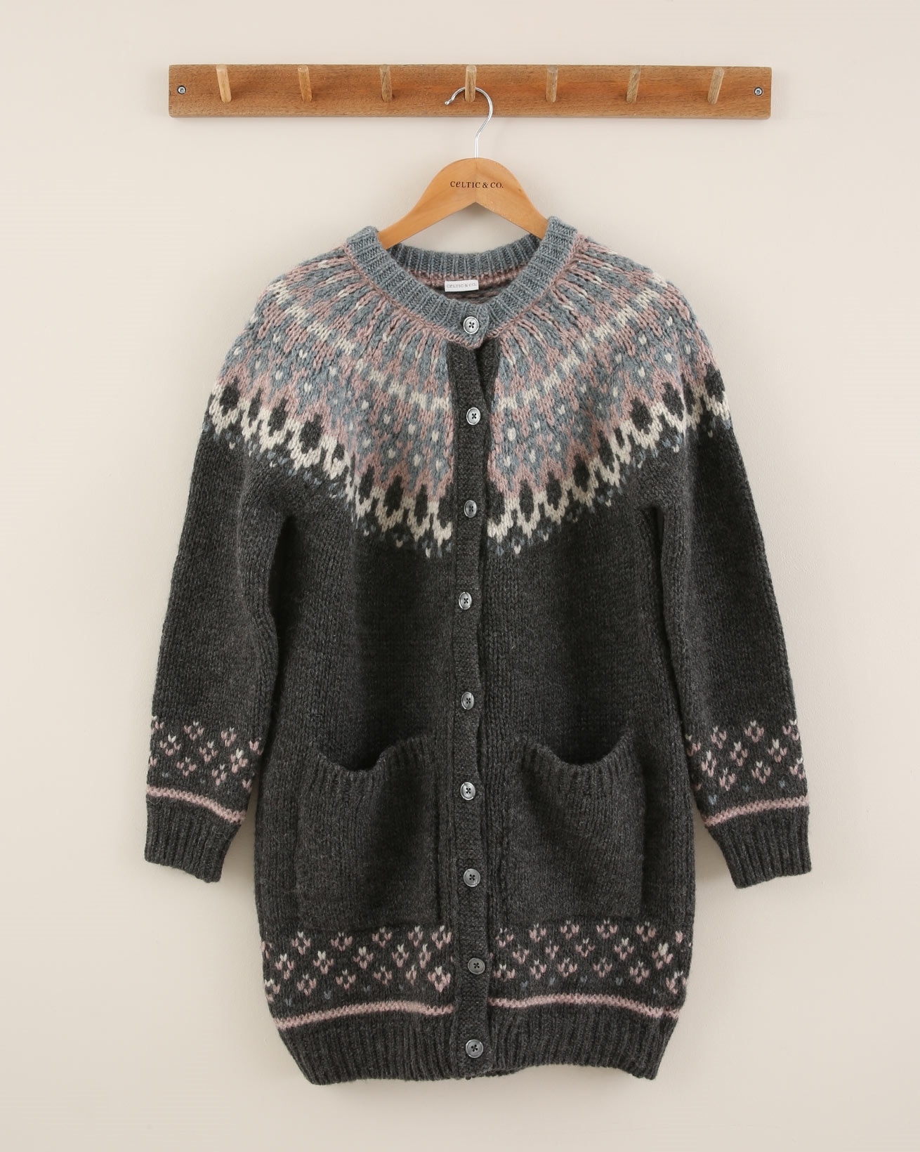 Fair Isle Yoke Cardigan - Size Small - Charcoal - 1948