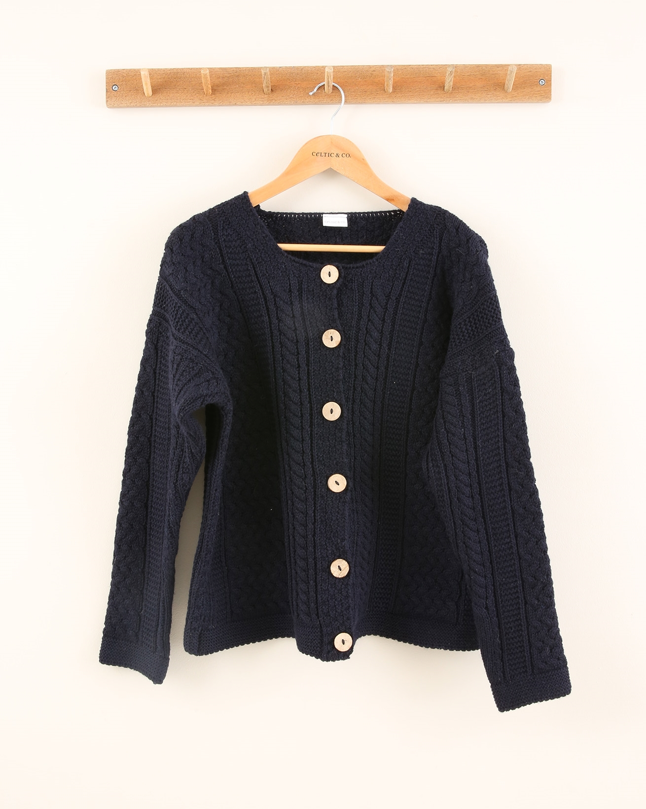 Cable Cardi - Size Small - Navy - 1950