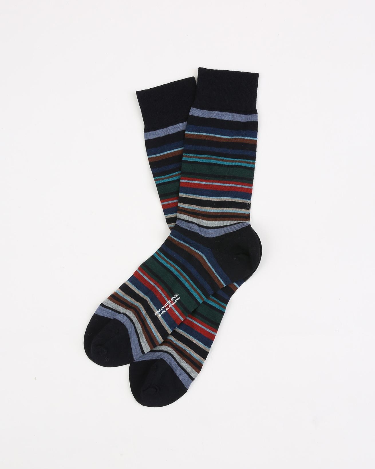 Mens Fine Merino Sock - Size Medium 7.5-9.5 - Navy Multi - 1959