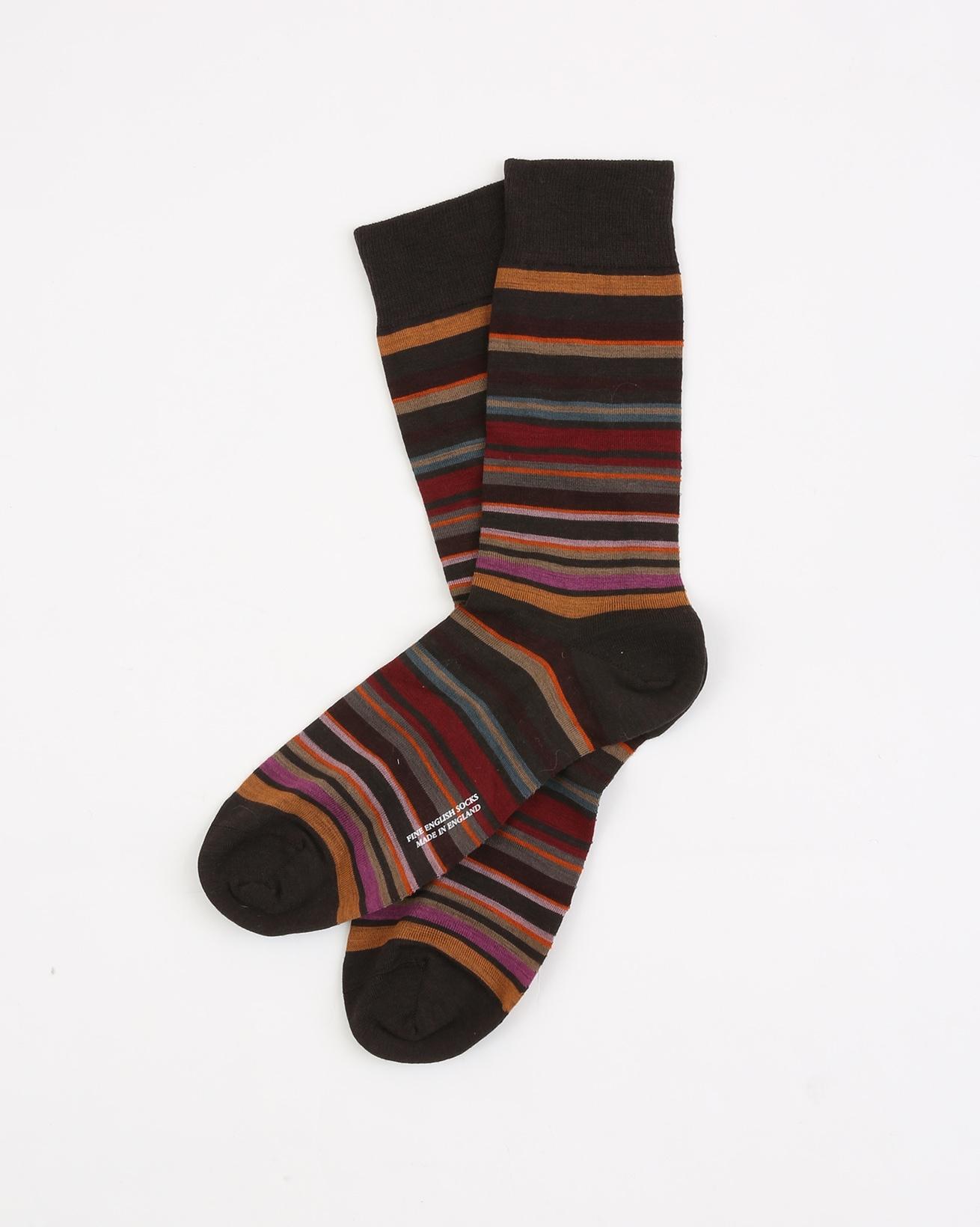 Mens Fine Merino Sock - Size  Medium 7.5-9.5 - Chocolate Multi - 1960