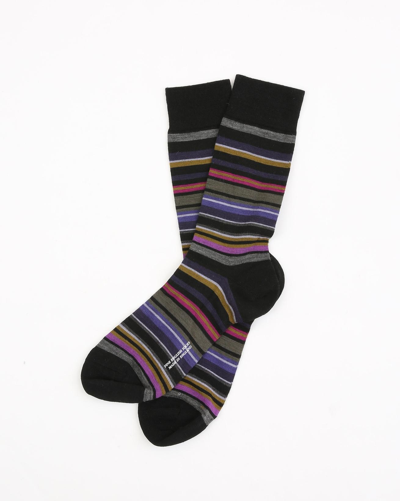 Mens Fine Merino Sock - Size Medium 7.5-9.5 - Black Multi - 1961