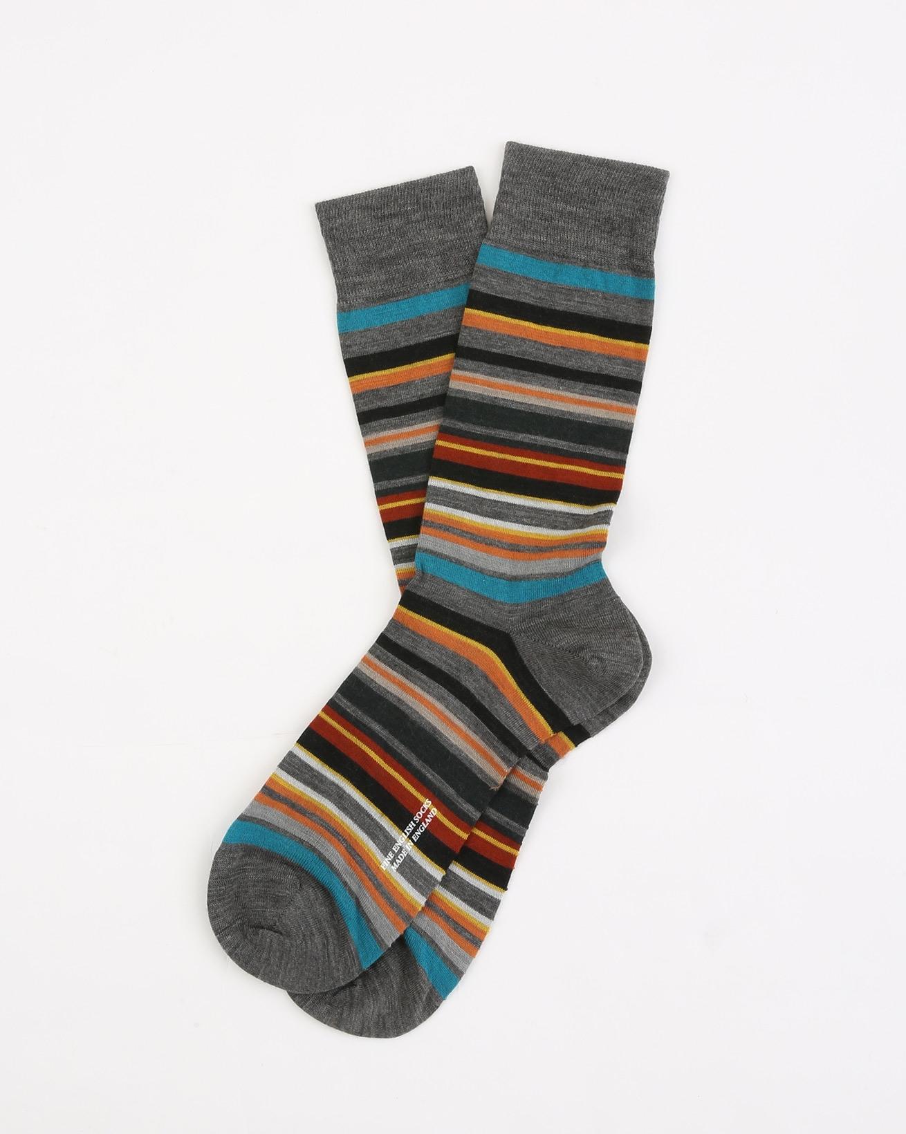 Mens Fine Merino Sock - Size Medium 7.5-9.5 - Mid Grey Multi - 1963