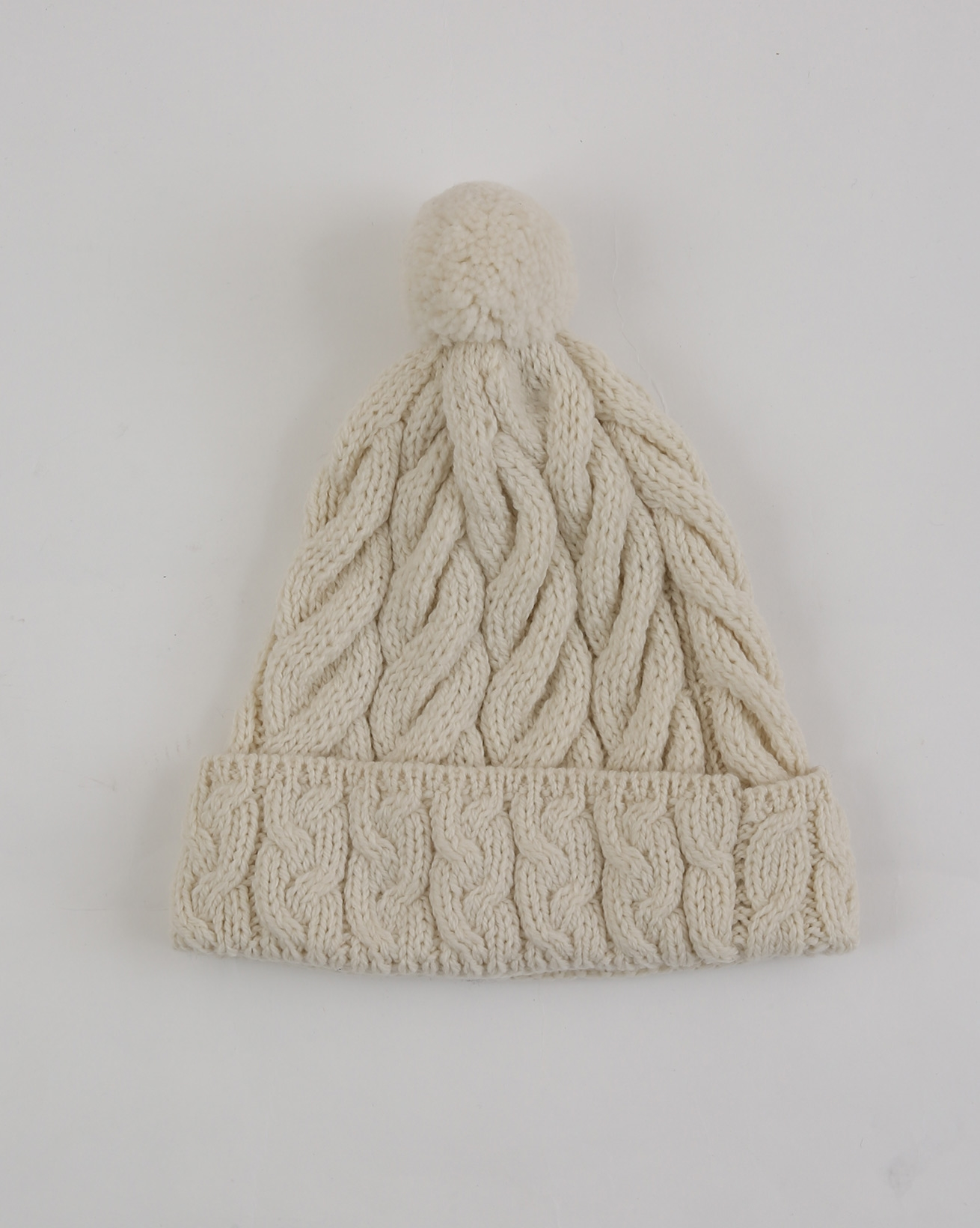 Aran Cable Beanie - One Size - Oatmeal - 1974