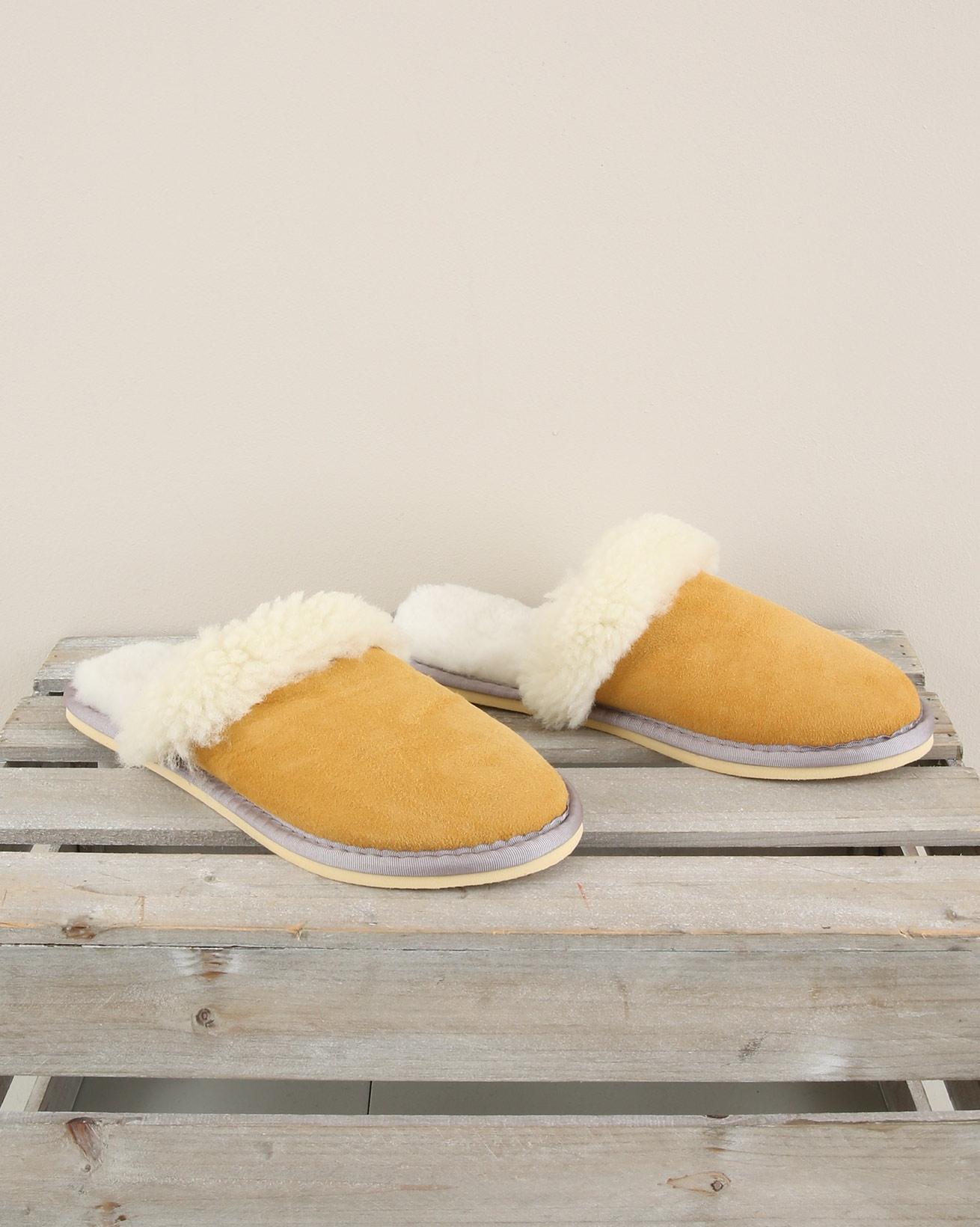 Ladies Sheepskin Turnback Mules - Size 6 - Gorse - 1999