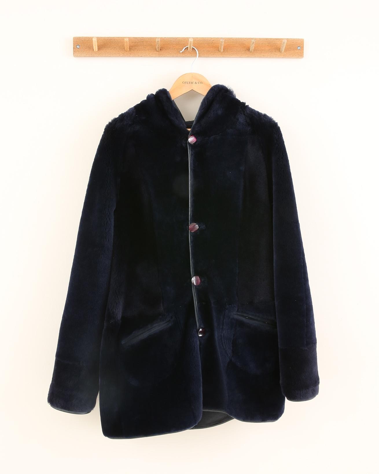 Reversible Hooded Sheepskin Coat - Size 10 - Navy - 1200