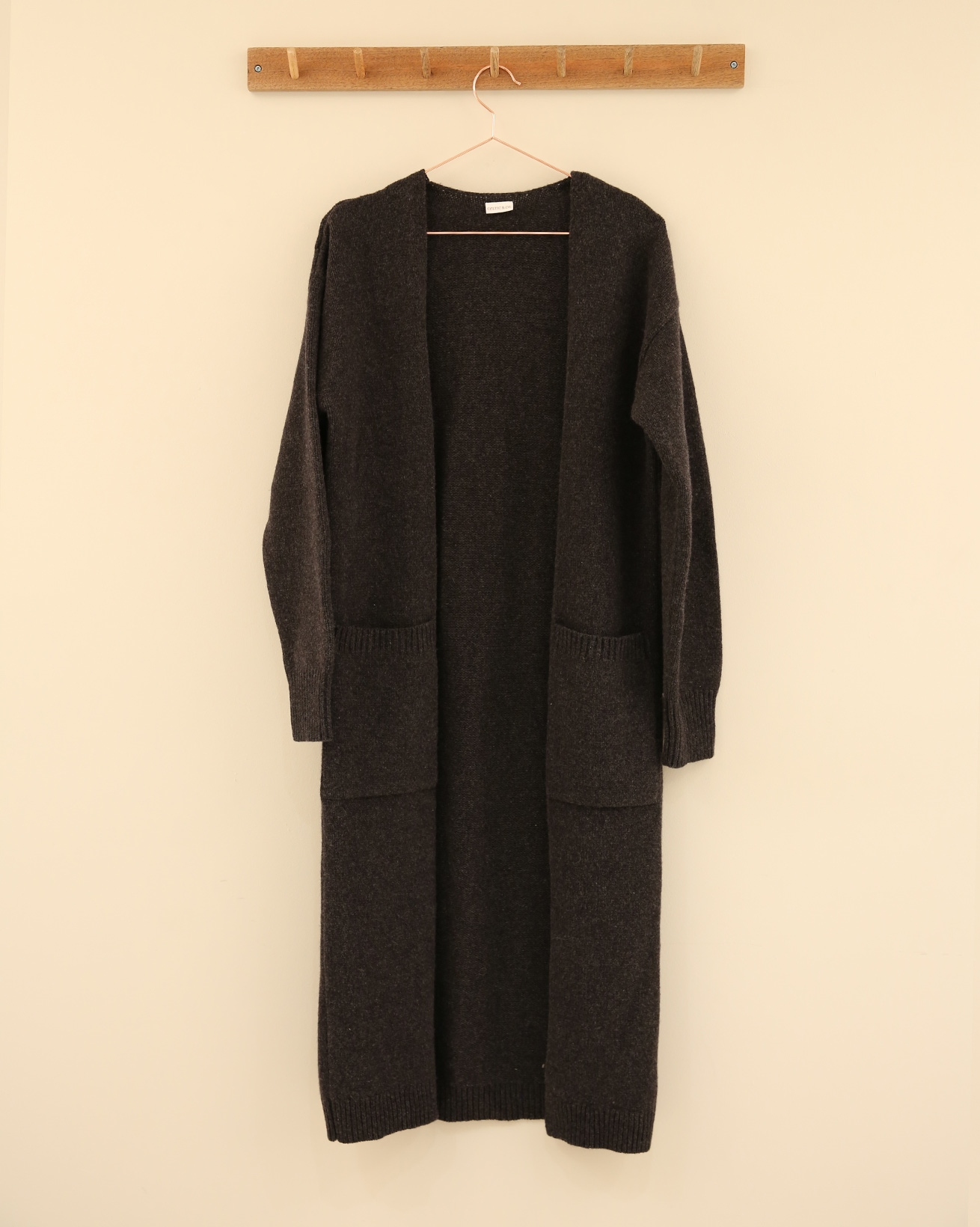 Felted wool maxi cardigan - Size Small - Charcoal - 2305