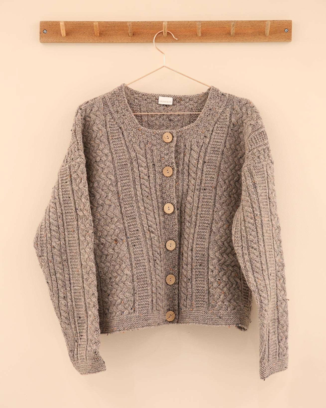 Cable Cardigan - Size Small - Flecked Grey - 2313