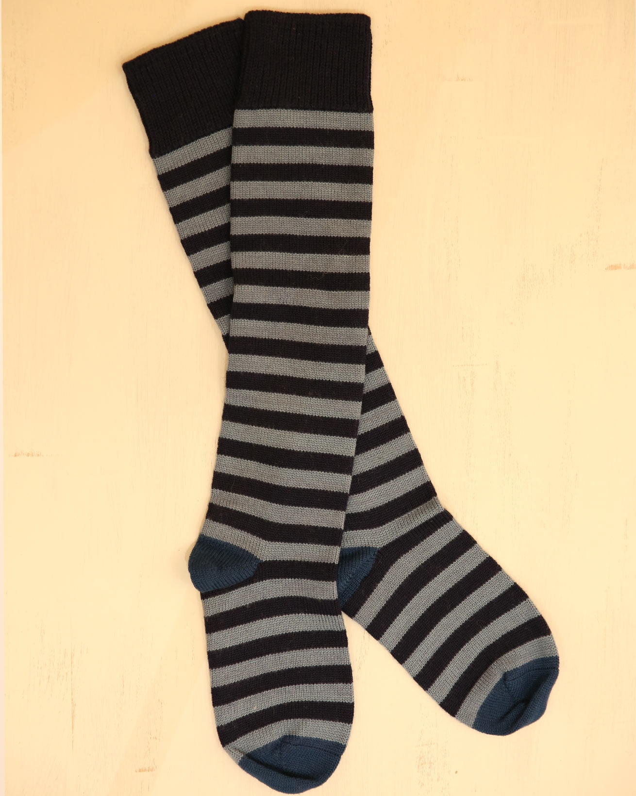 Ladies Long Merino Cotton Stripe Sock - Size Medium - Dark Navy/Vintage Blue - 2319