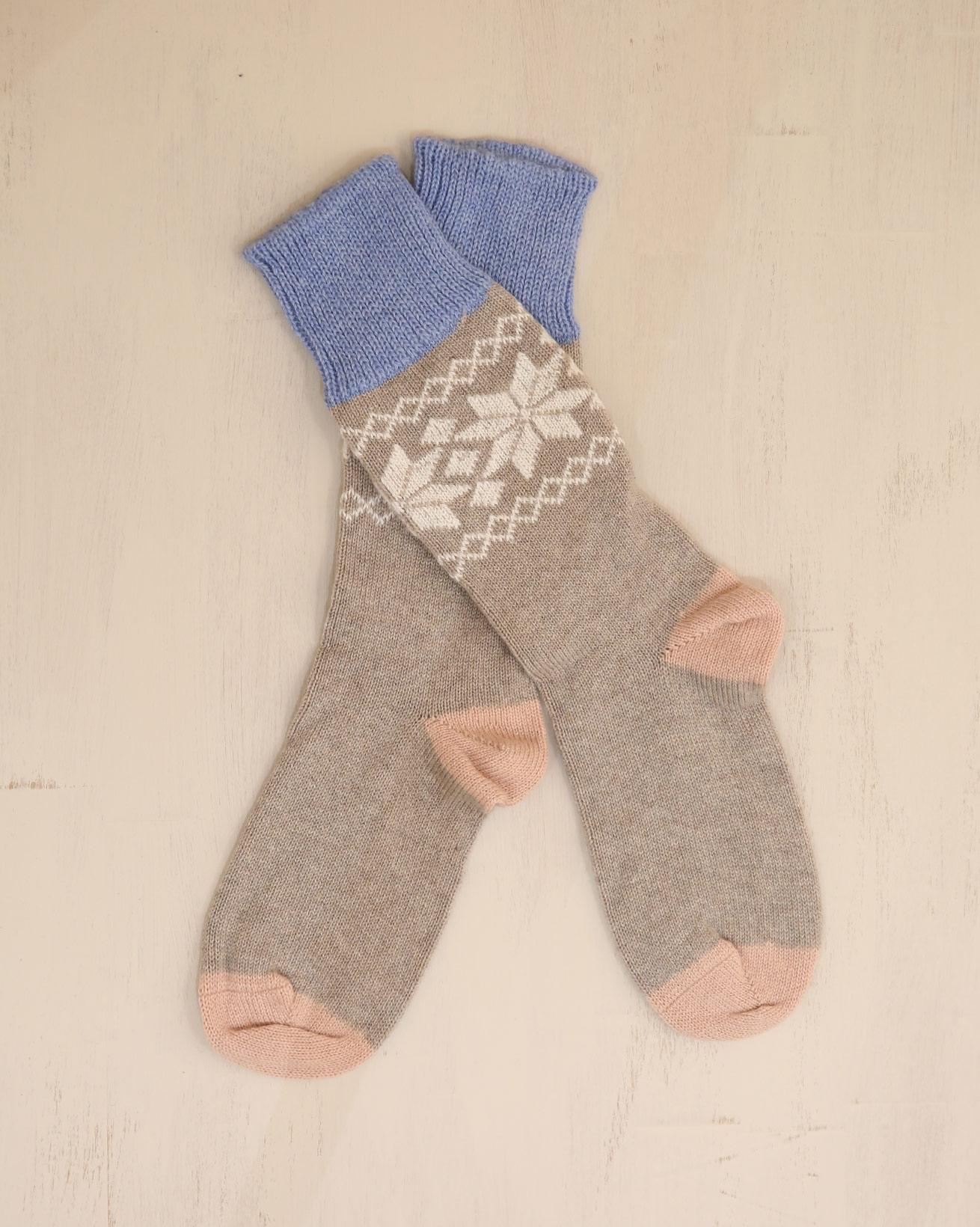 Ladies Cashmere Cotton Fairisle Socks - Size Medium - Mushroom - 2321