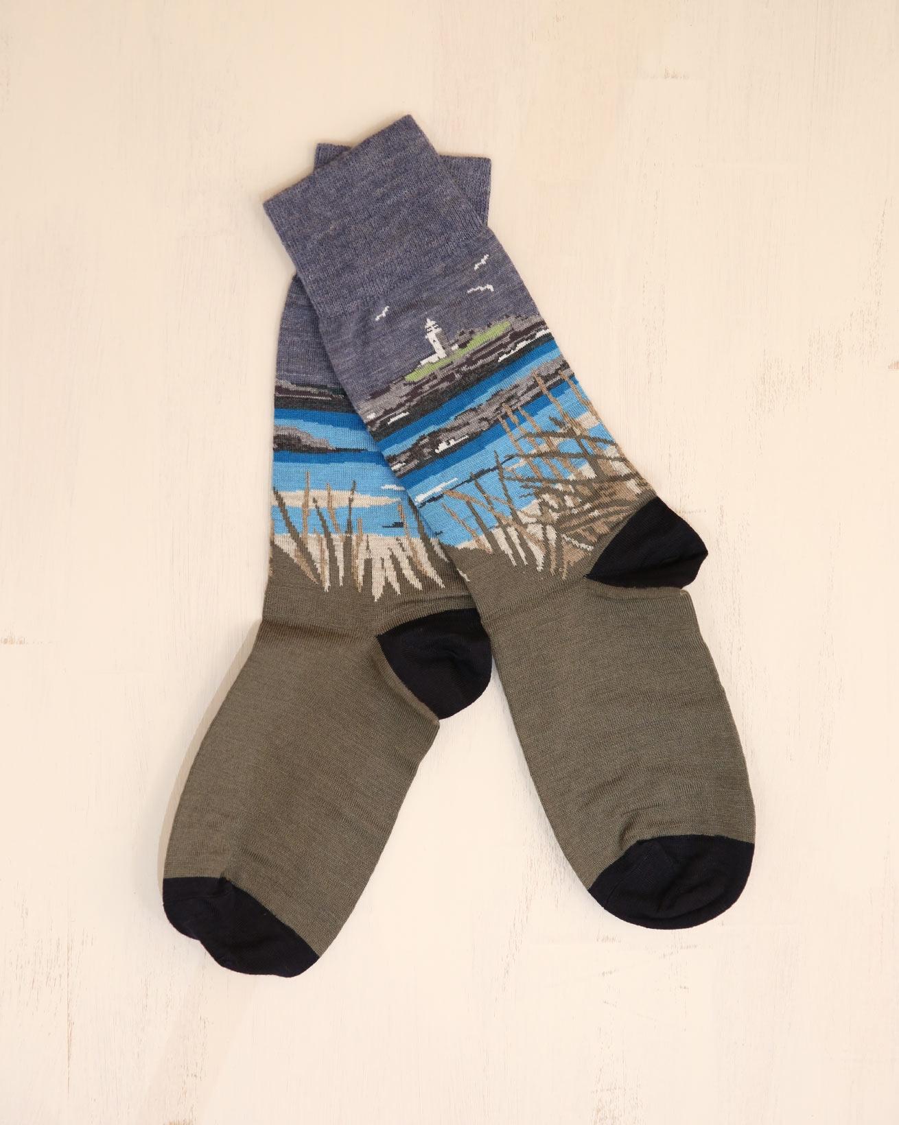 Ladies Fine Merino Sock - Size Medium - Lighthouse - 2324