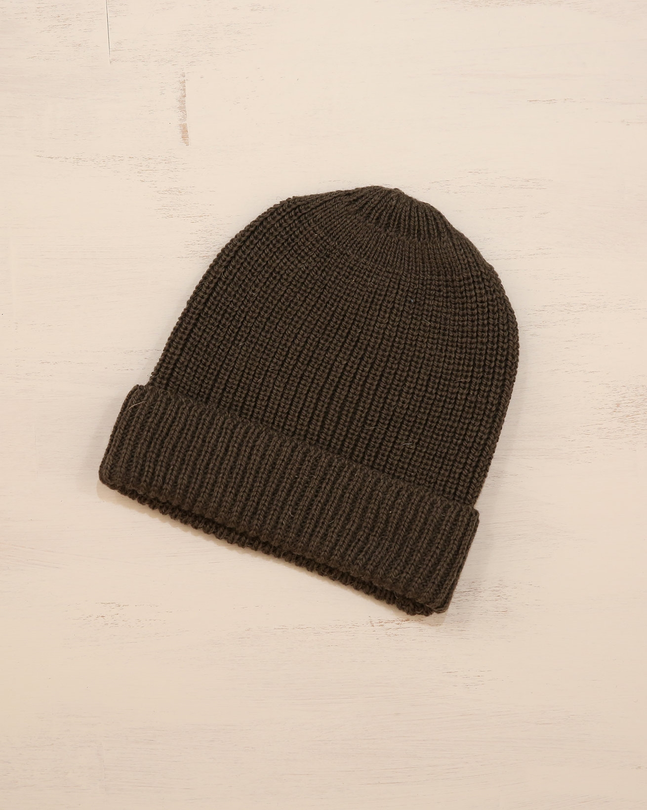 Ladies Rib Beanie - One Size - Khaki - 2329