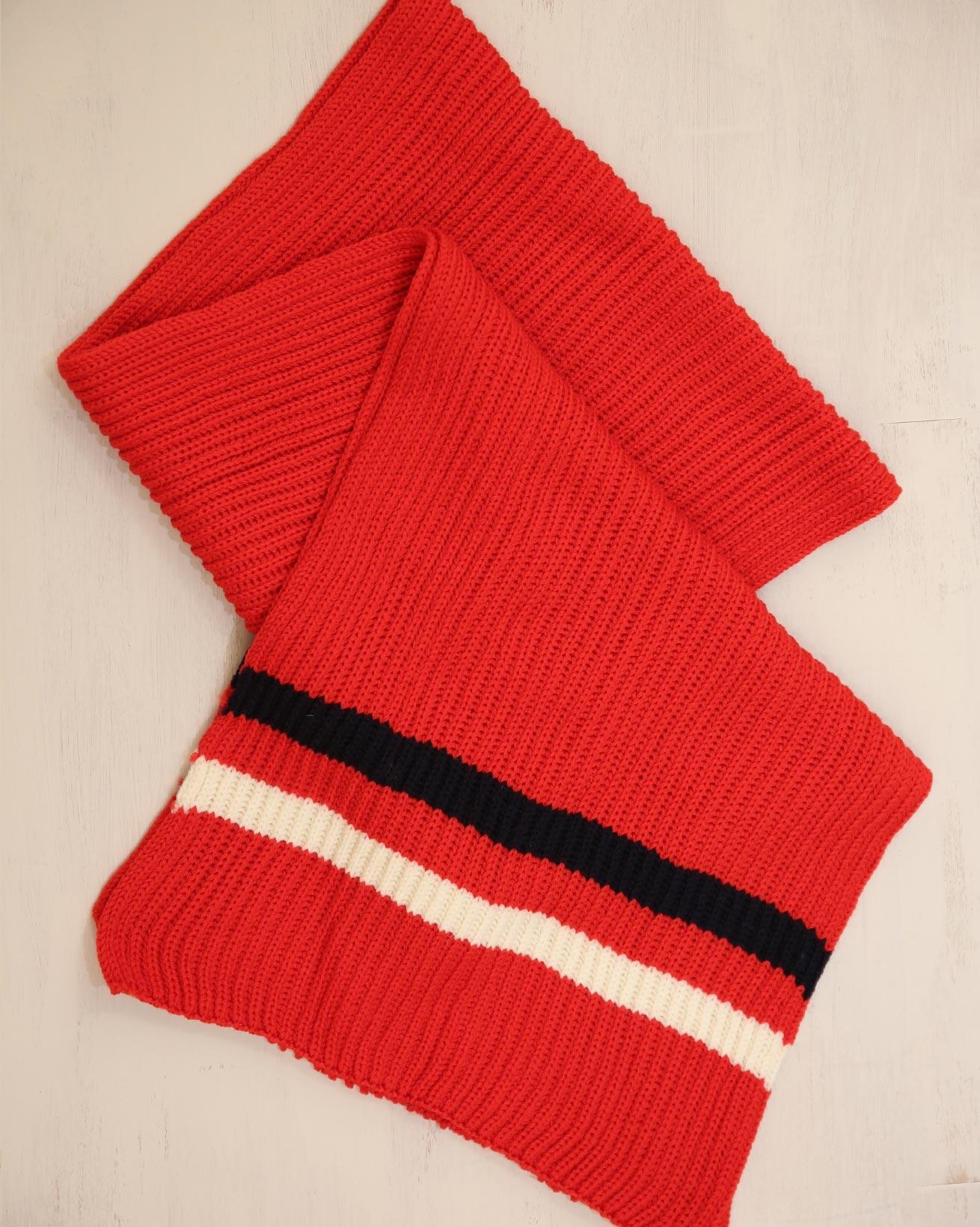 Rib Stripe detail scarf - One Size - Red/Navy/Cream - 2333