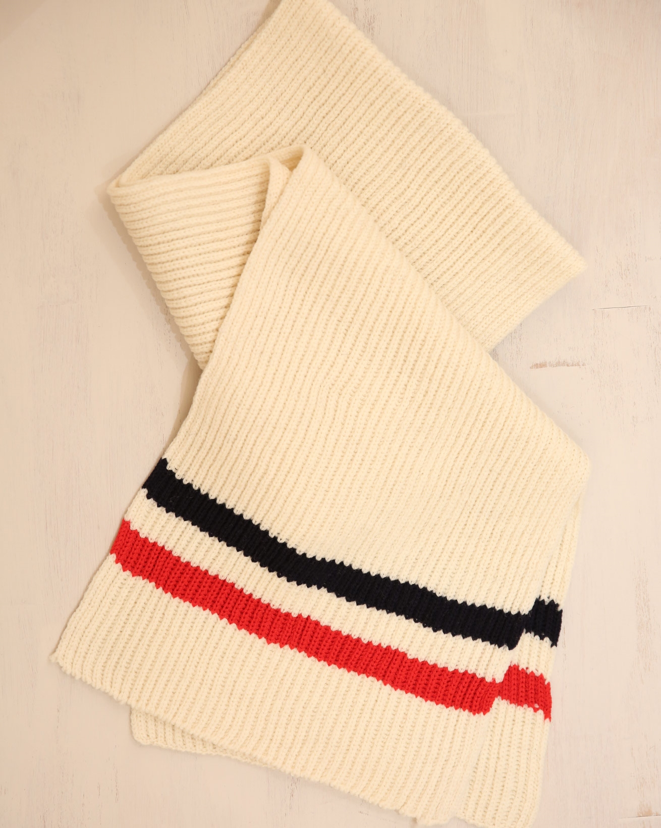Rib Stripe detail scarf - One Size - Cream/Navy/Red - 2334