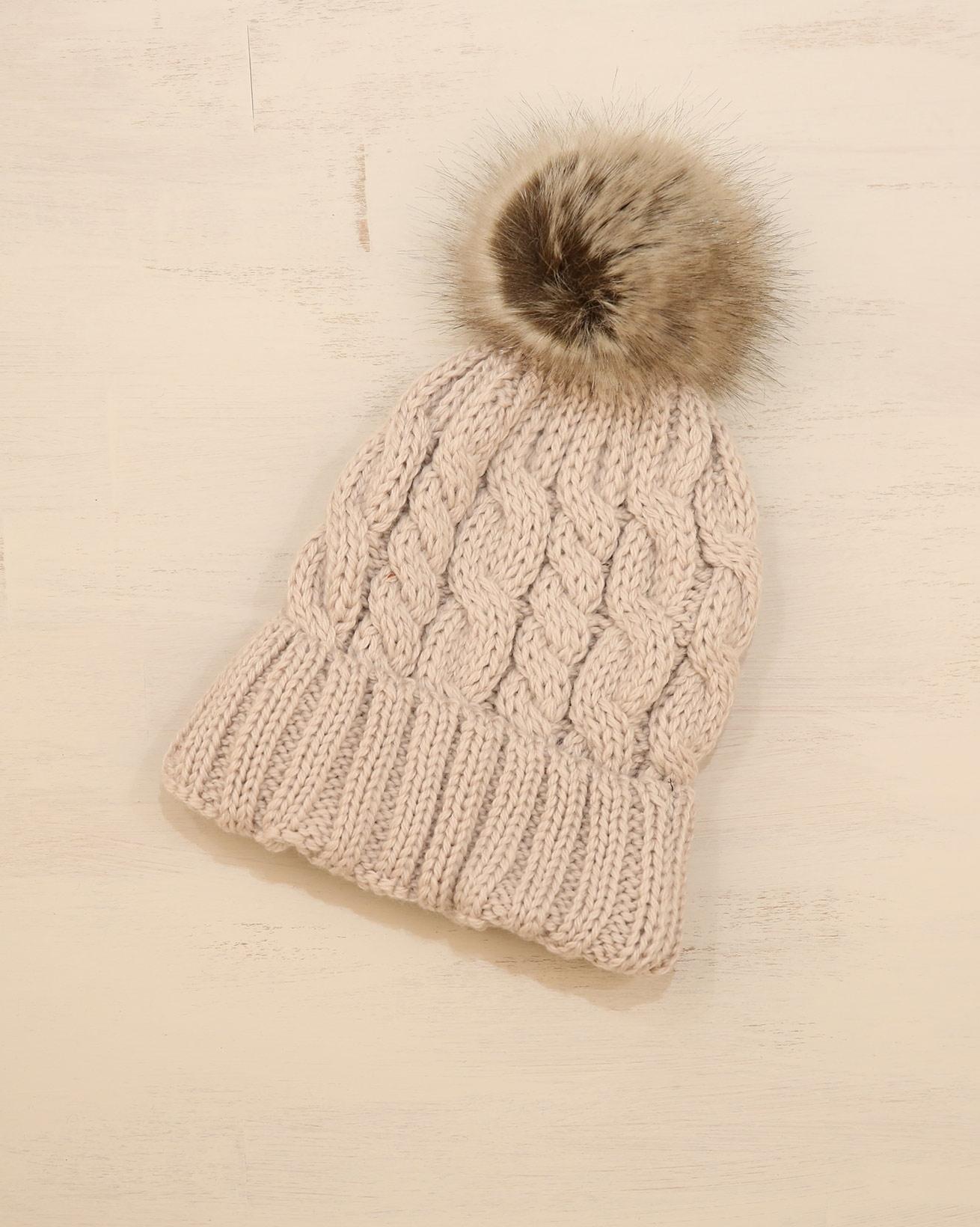 Ladies Cable Pom Pom beanie - One Size - Warm Taupe - 2335