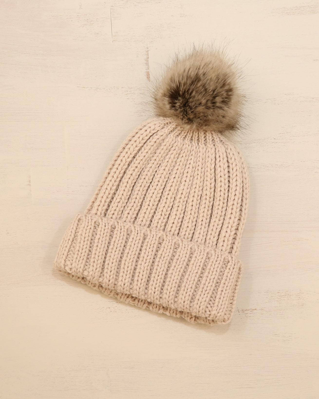 Ladies Rib Pom Pom beanie - One Size - Warm Taupe - 2338