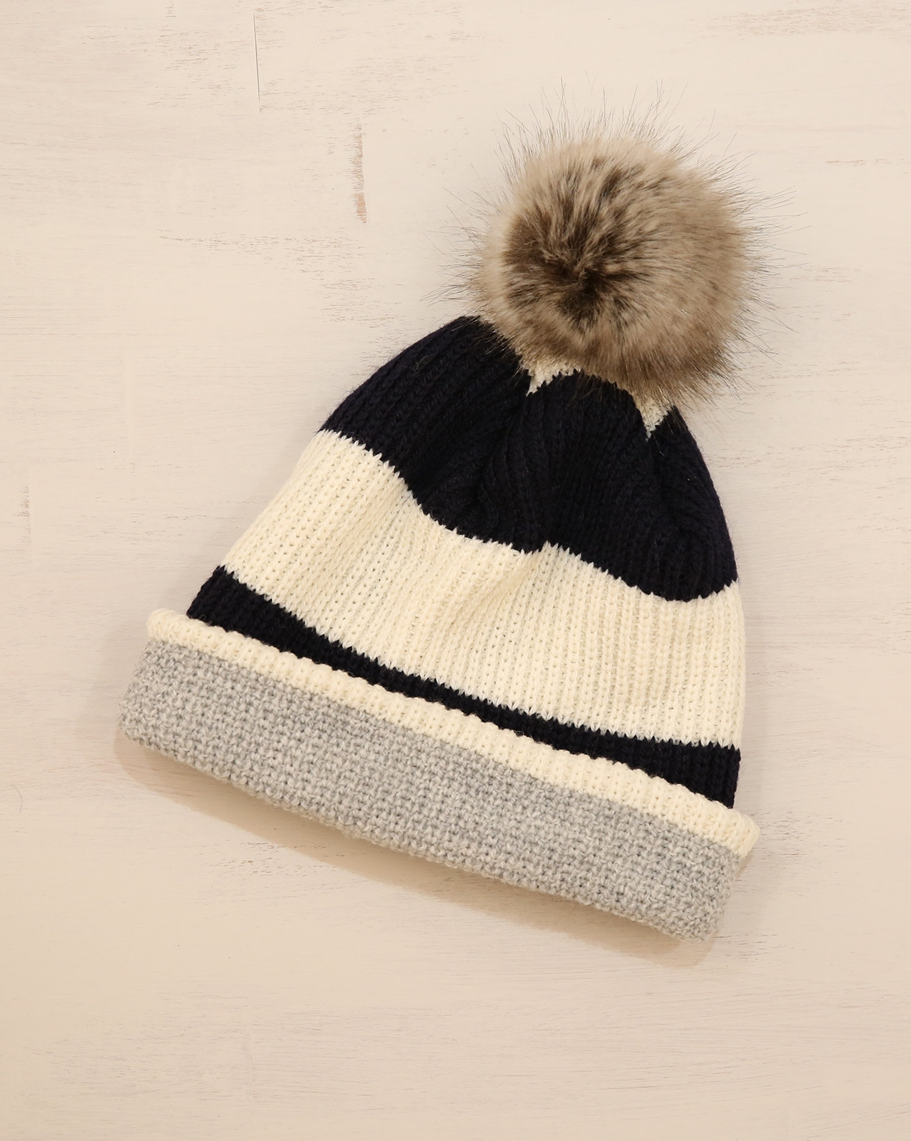 Ladies Pom Pom beanie - One Size - Cream/Grey/Navy - 2341