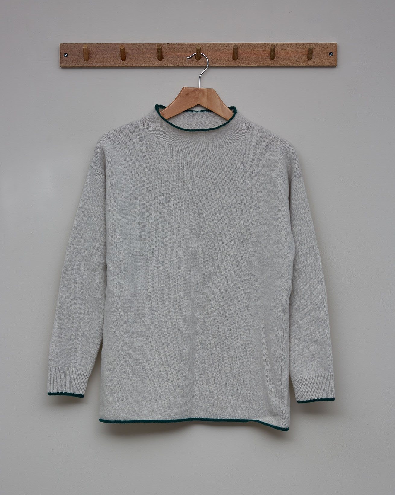 Felted Funnel Neck Jumper - Size Small - Fossil, Sea Green - 2354