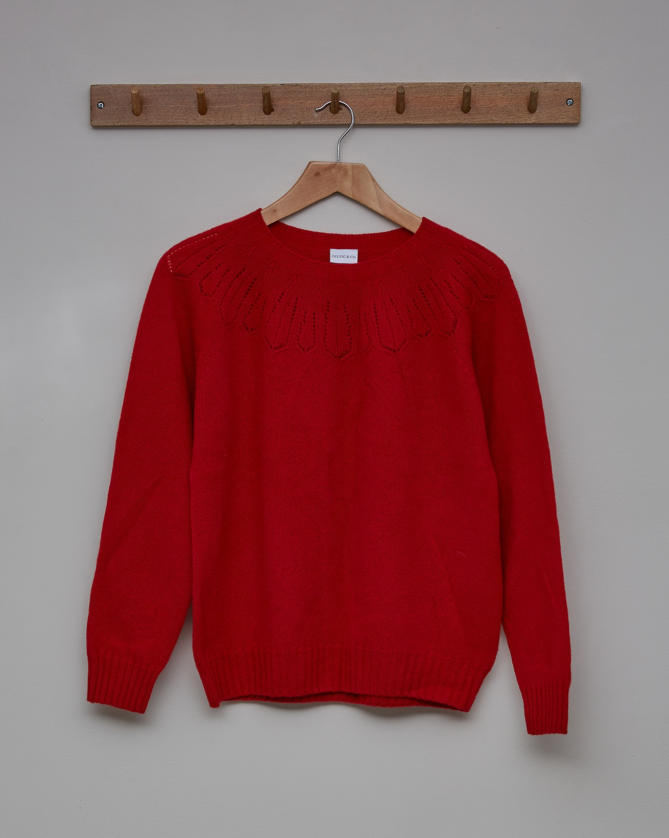 Merino Cashmere Lace Yoke Detail Jumper - Size Small - Pillarbox Red - 2361