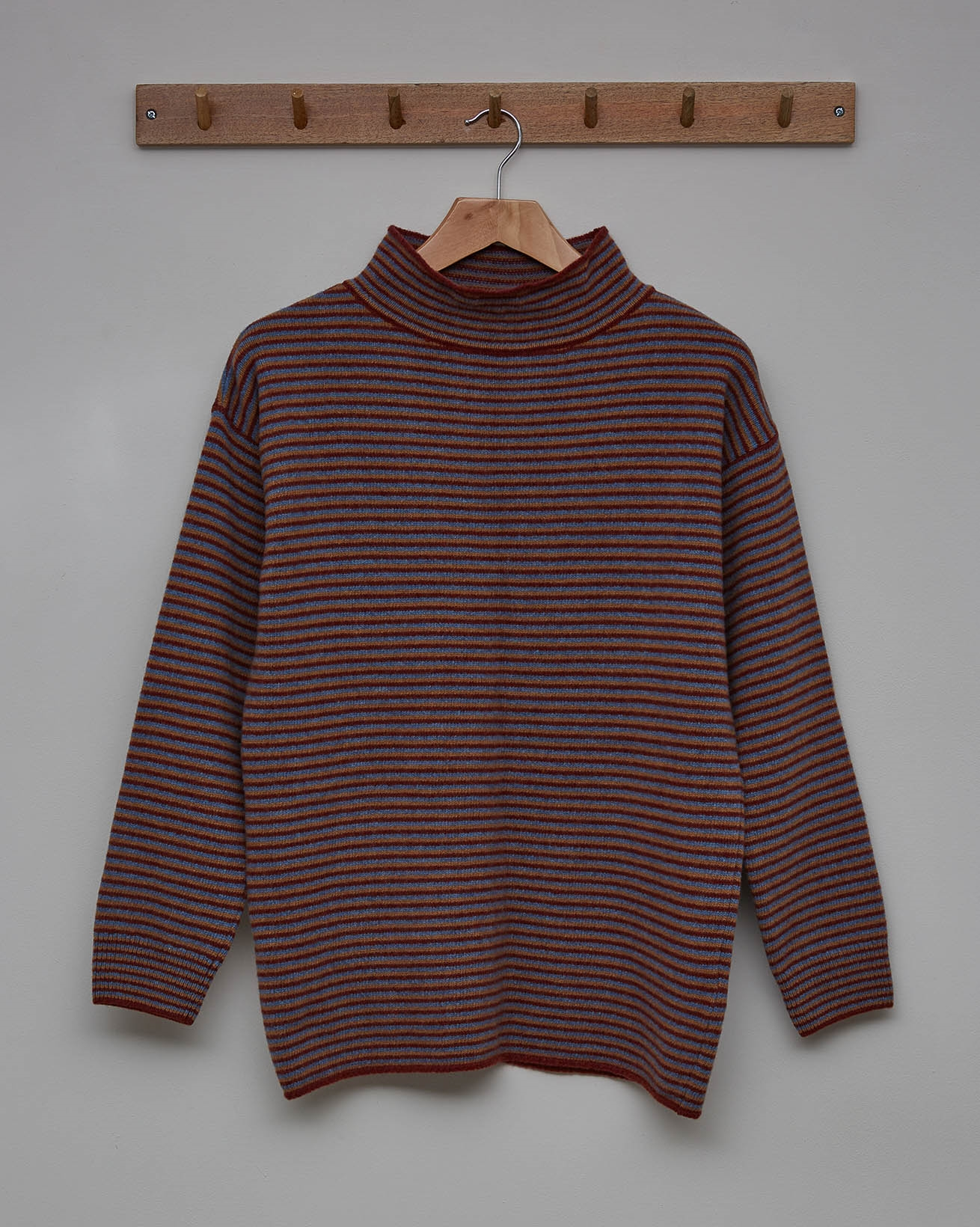 Felted Funnel Neck - Size Small - Rust, Autumn Brown, Vintage Blue Stripe - 2363