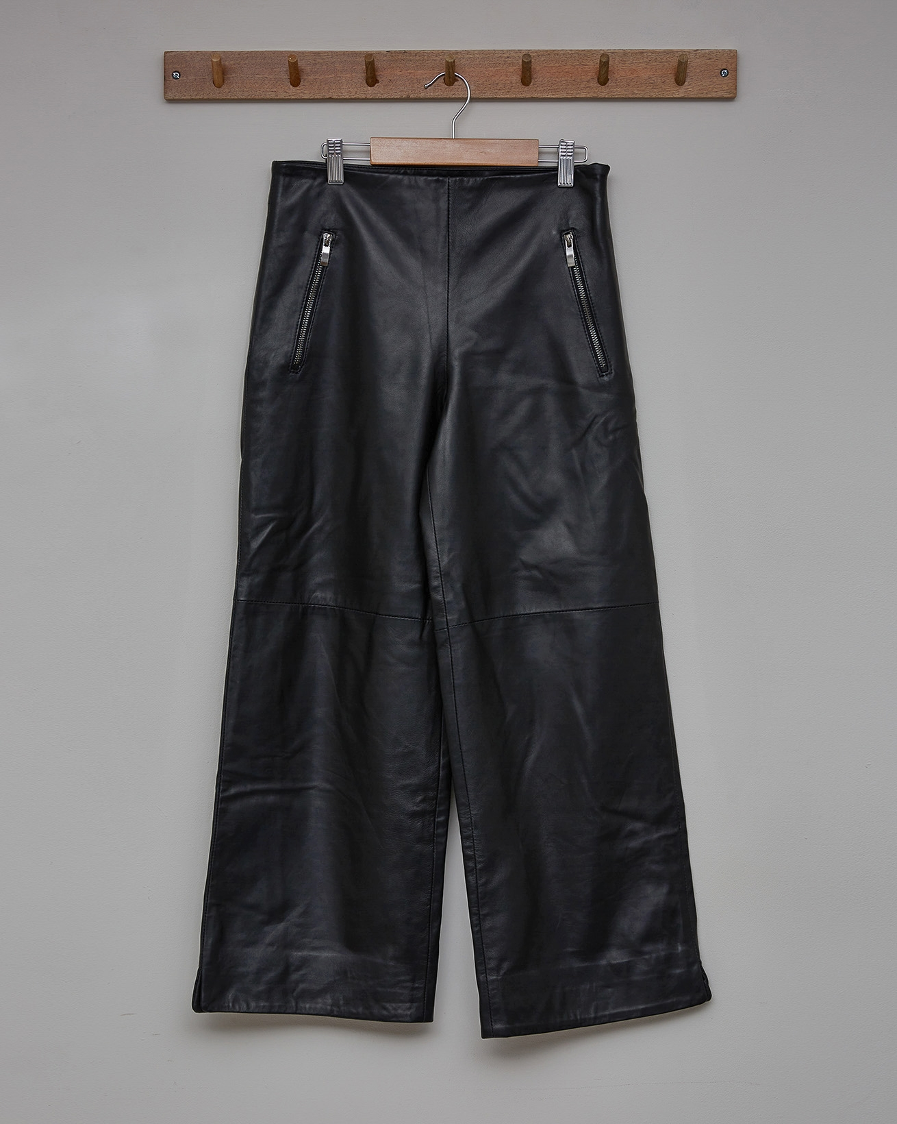 Cropped Wide Leg Leather Trousers - Size 8 - Black - 2365