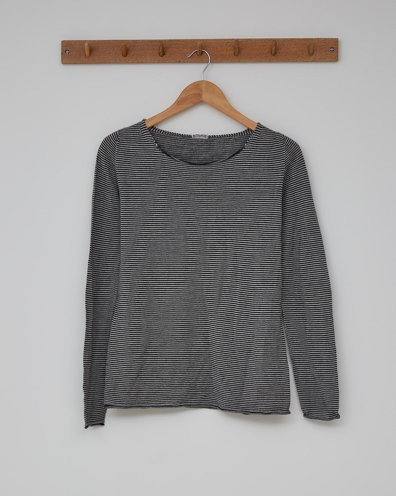 Fine Knit Merino Crew Neck - Size Small - Putty Microstripe - 2373