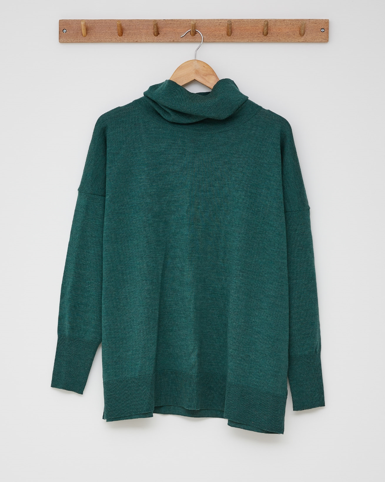 Slouchy Fine Knit Roll Neck Jumper - Size Small -  Sea green - 2428