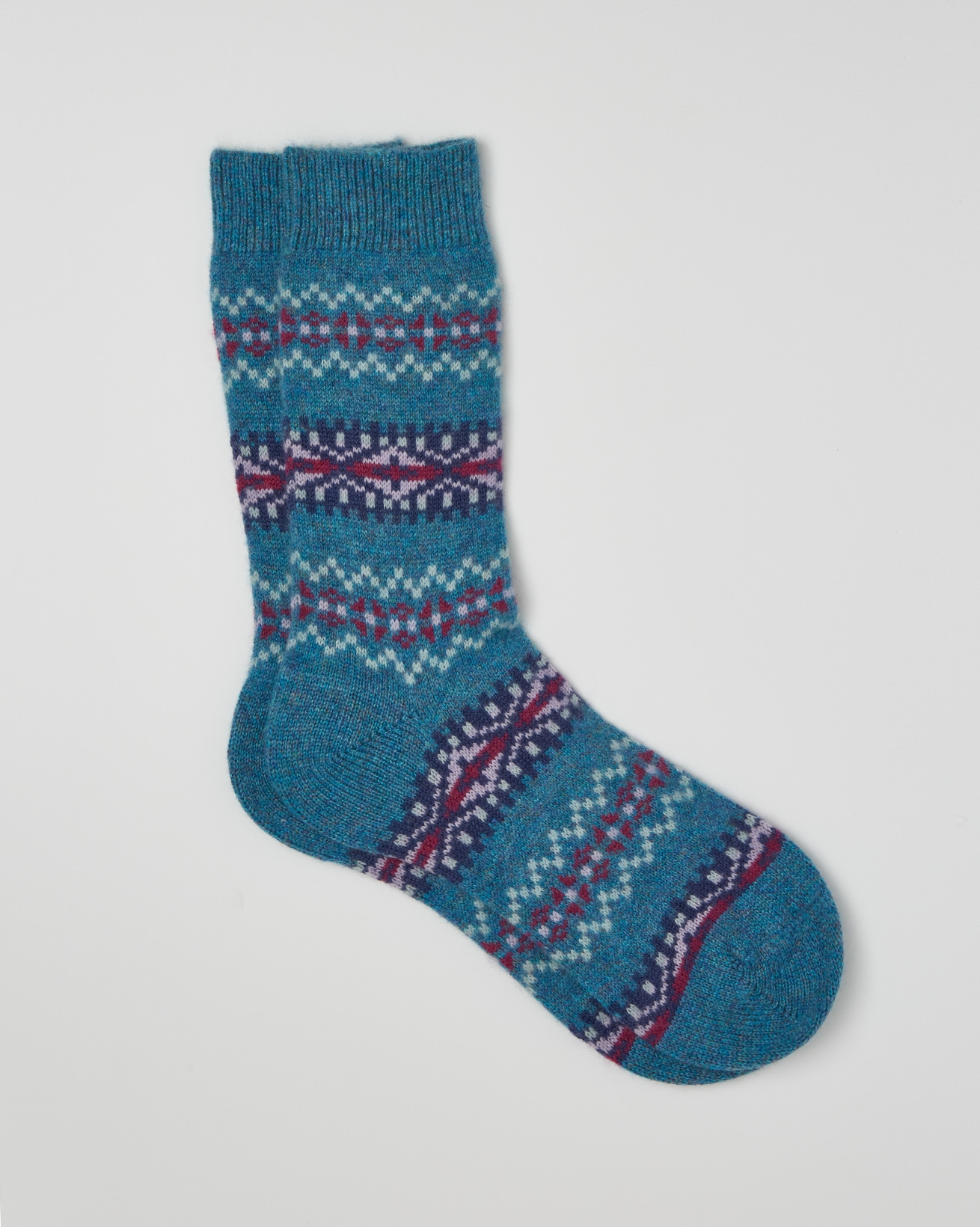 Cashmere Fair Isle Socks - One/Size - Blue - 2403