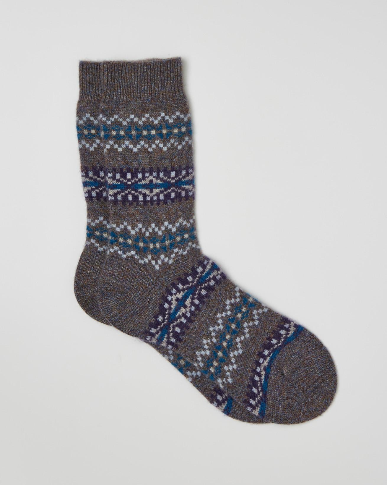 Cashmere Fair Isle Socks - One/Size - Grey Mix - 2404