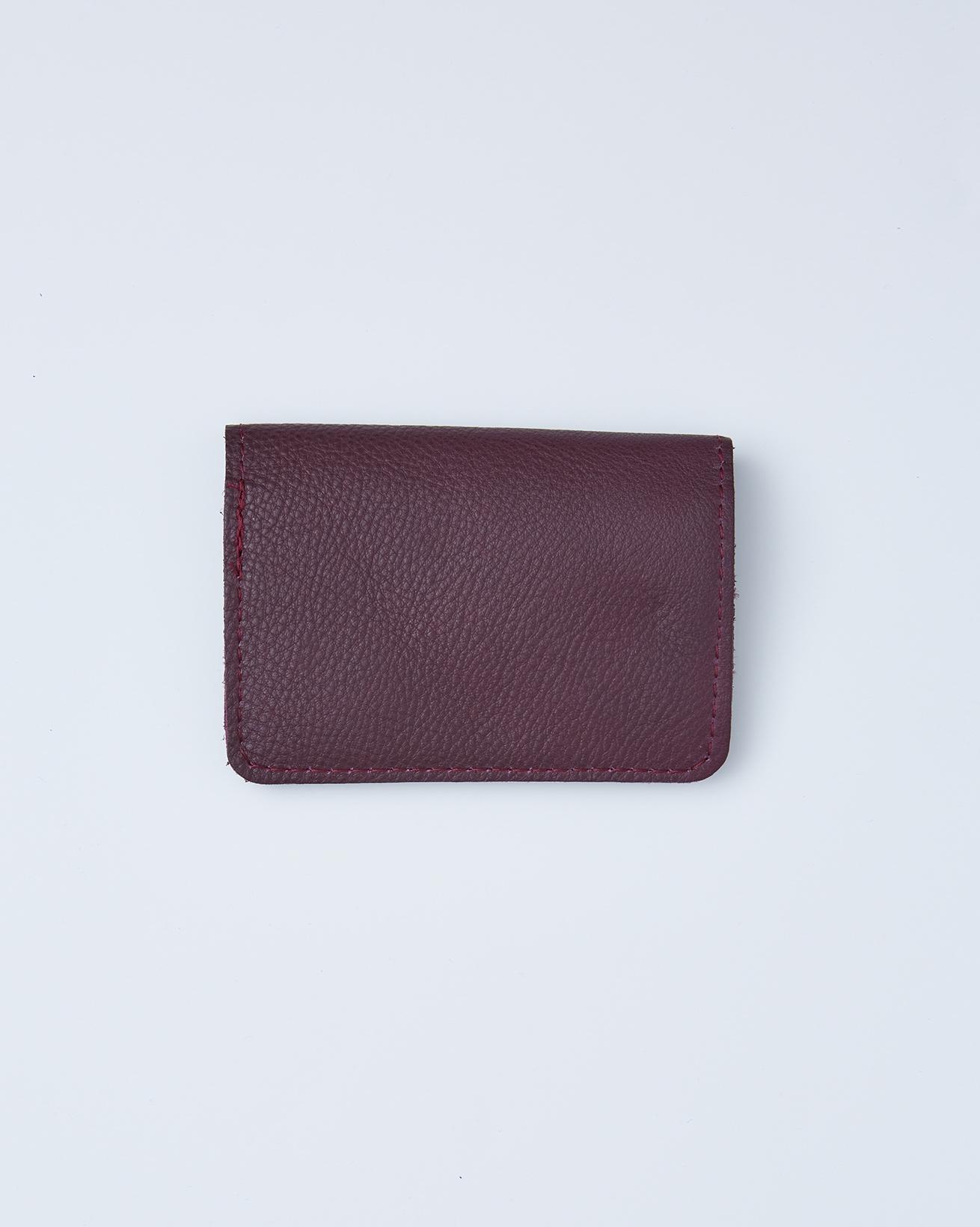 Leather Flip Open Card Wallet - One/Size -  Damson - 2407