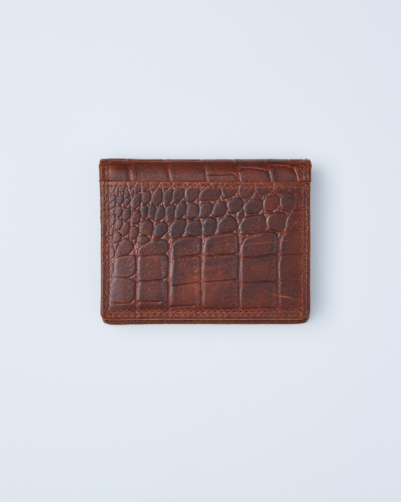 Leather Credit Card Holder Style 2 - One/Size -  Burnt Honey - 2409