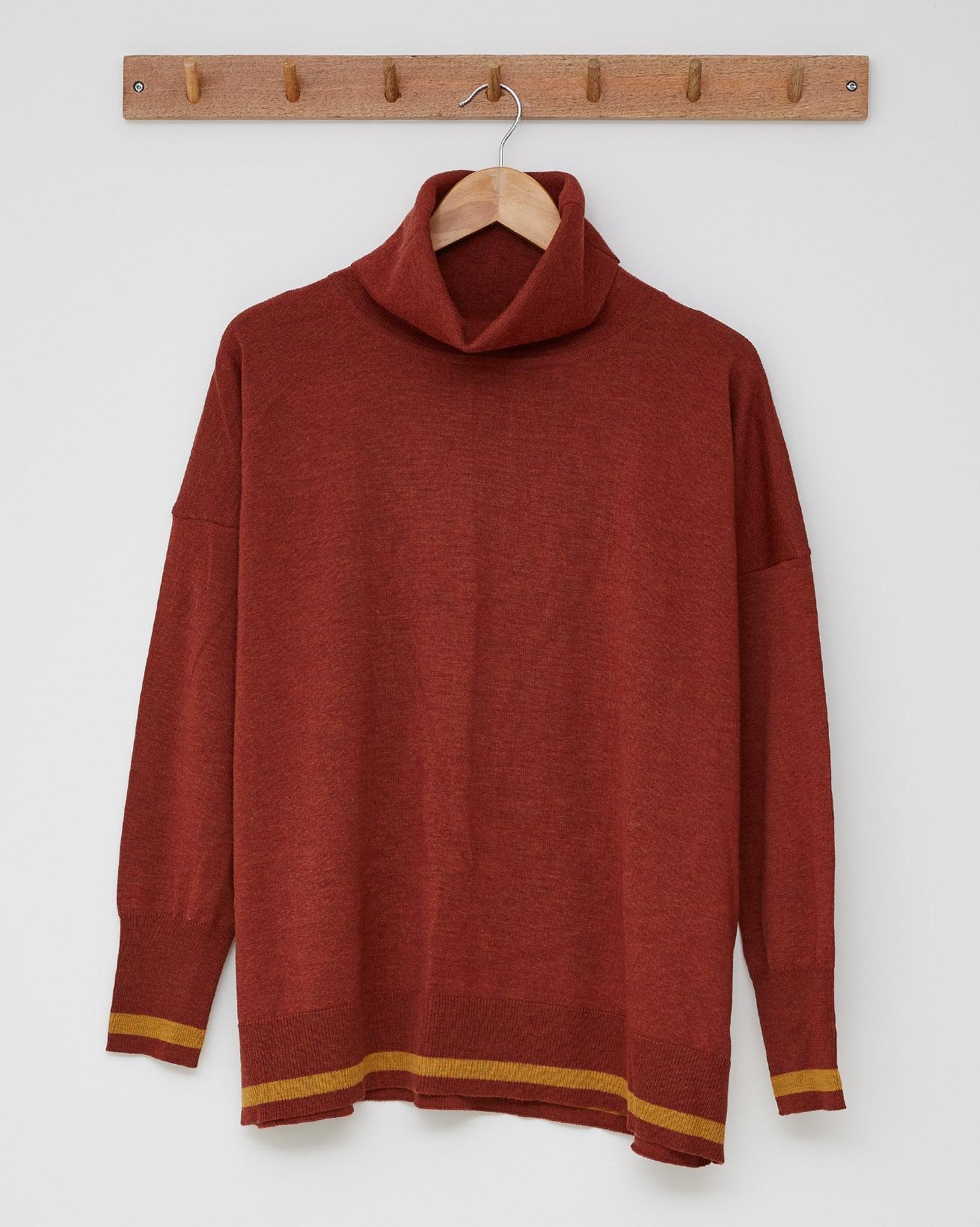 Slouchy Fine Knit Roll Neck Jumper - Size Small - Rust, Gorse Stripe - 2457