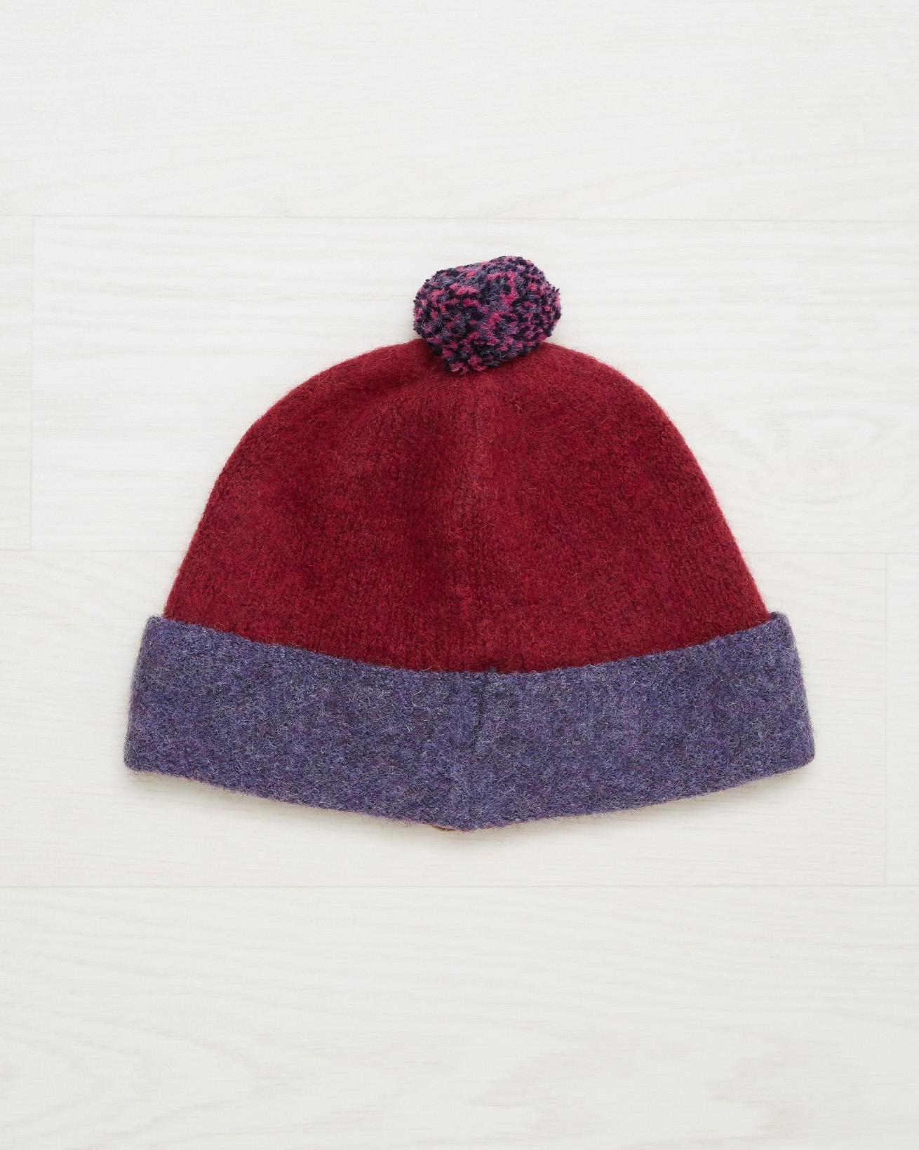 Shetland Wool Bobble Hat - Claret - One Size - 2541
