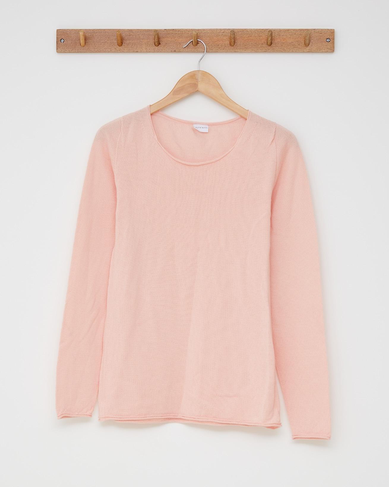 Fine knit merino crew neck - Size Small - Peach pink - 2486