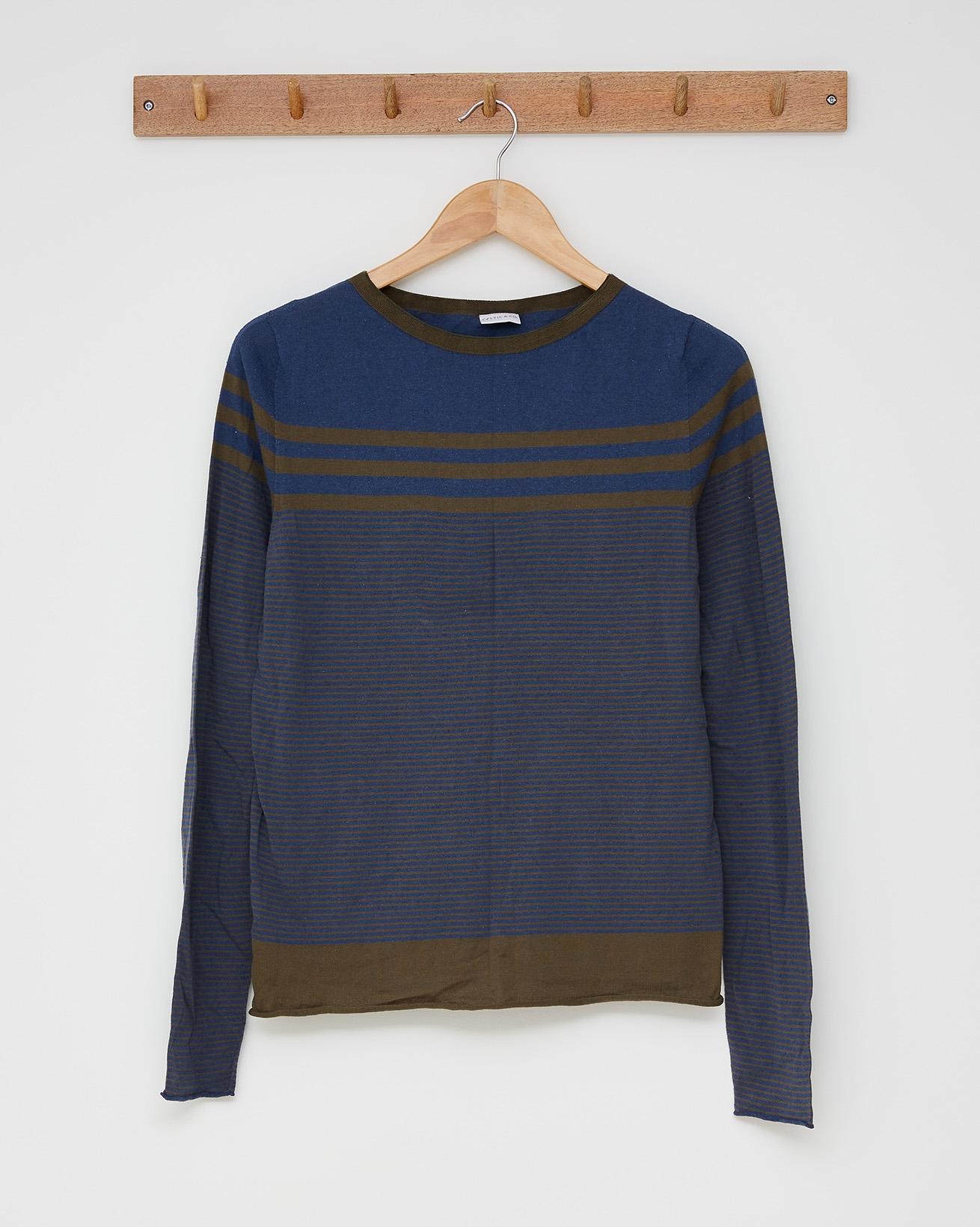 Stripey cotton crew top - Size Small - Khaki, icelandic blue - 2489