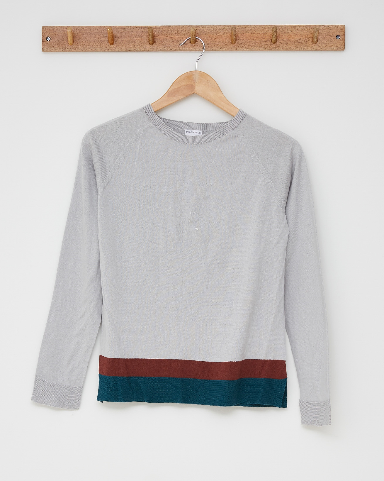 Cotton crew top - Size Small - Mineral, Icelandic blue, maroon stripe - 2514